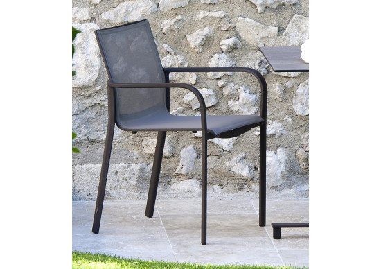 fauteuil de jardin toile batyline et structure aluminium hegoa les jardins au bout du monde. Black Bedroom Furniture Sets. Home Design Ideas